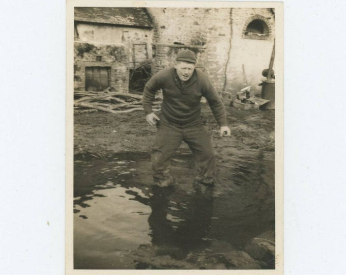 "Vintage Snapshot Photo: ""Sgt. Waller in the mud in France"" c1940s (78600)"