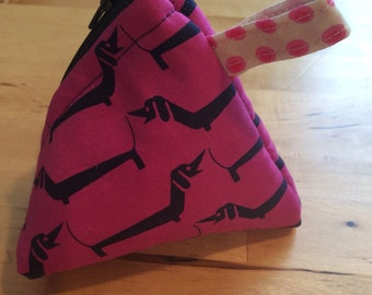 Triangle coin purse, pyramid coin purse, mini purse, dachshund coin purse, dachshund fabric