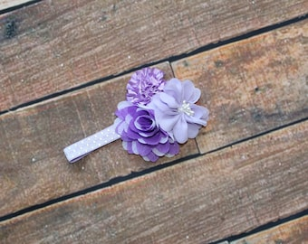 Ready To Ship 3-6 Months Baby Girls Purple Lilac Floral Headband