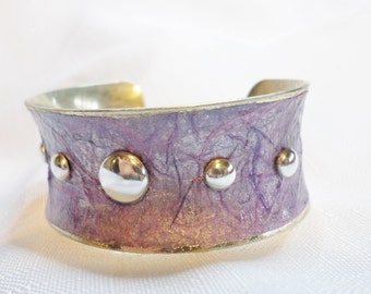 Purple Silver Metal Cuff Bracelet