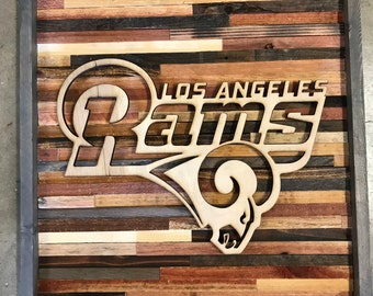 Rustic sports decor Los Angeles Rams wall art