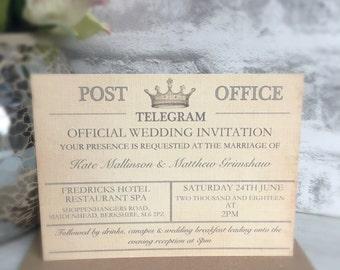 SAMPLE - Vintage Travel Wedding Invitation, Telegram Wedding, Destination Wedding Invitations, Vintage Wedding, Travel theme invitation