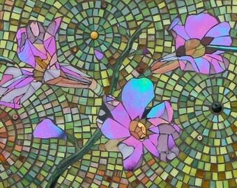 Hummingbird Print -  Limited Edition Giclee Print - Mosaic Hummingbird Art  Pink Flower Print - Mosaic Flowers - Bird Print - Tropical Print