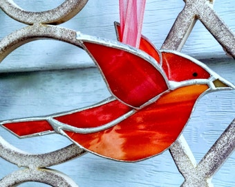 Red cardinal 3D stained glass bird window hanging ornament, garden ornament decor,gift for mom, gift for grandmom, aunt, hostess gift
