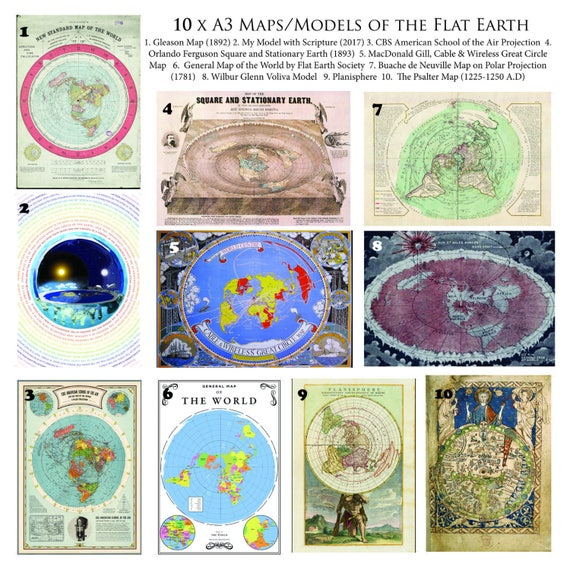 Flat earth map collection 10 x a3 posters on 170 gsm paper gumiabroncs Gallery