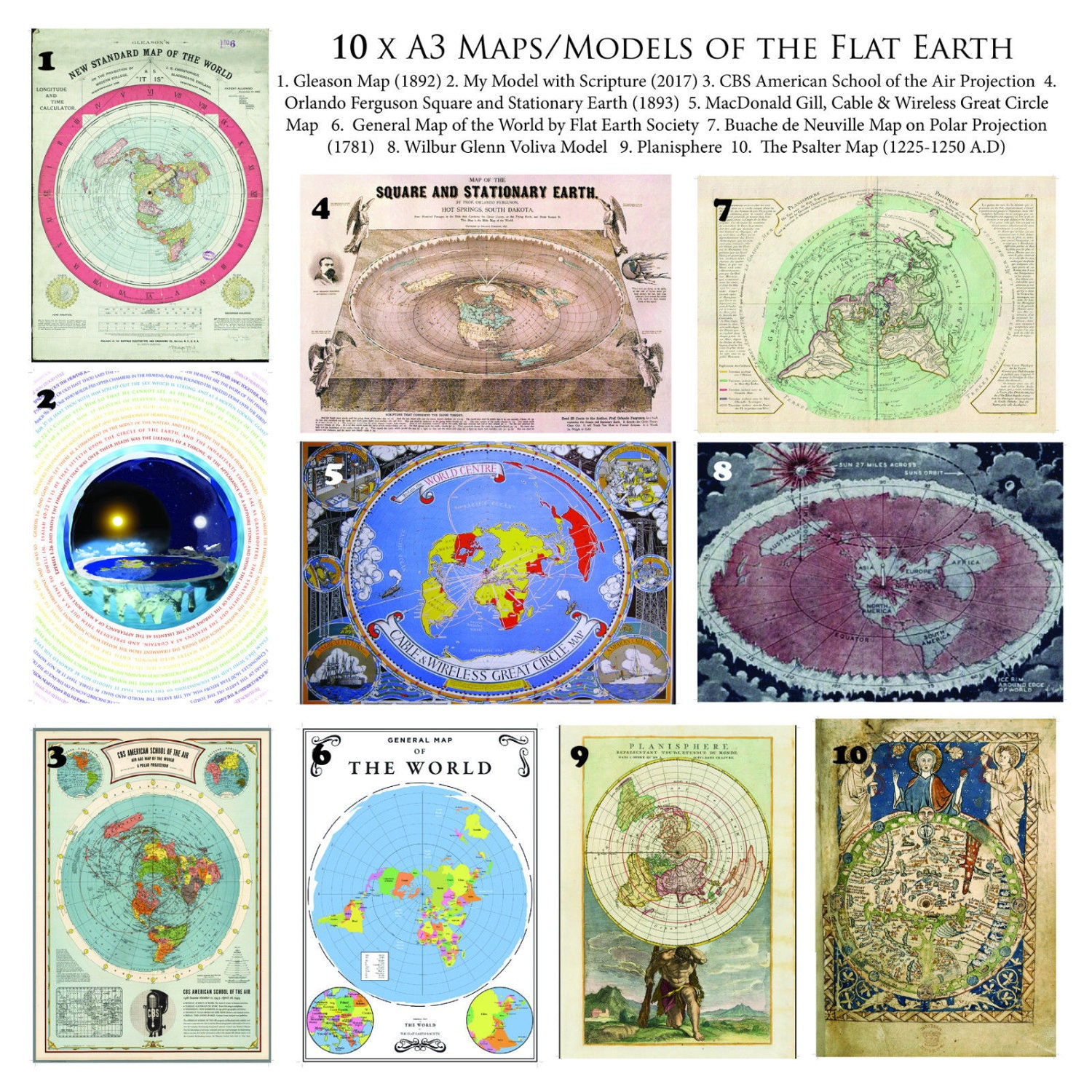 Flat earth map collection 10 x a3 posters on 170 gsm paper ampliar gumiabroncs Images