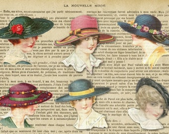 Laminated placemat vintage fashion hats