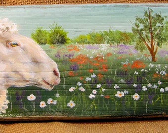 Sheep in Spring Meadow Rustic Sign