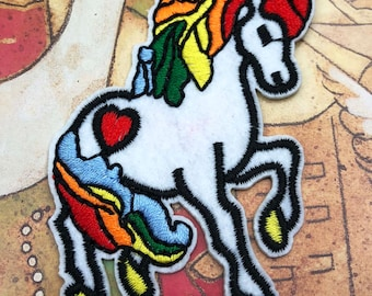 Large Rainbow Unicorn Embroidered  Iron On Patch Applique CR011618