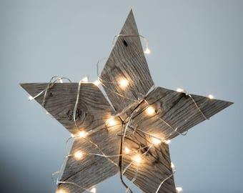 Rustic reclaimed wood star tree topper, centerpiece, window ornament