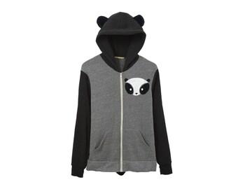 Geo Panda Bear Hoodie - Fleece Hooded Zip Sweatshirt with Ears and Tail in Heather Grey and Black Colorblock - Unisex Size S-2XL
