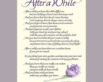 After A While 8x10 Calligraphy Print, inspirational quote, wall art, love poem