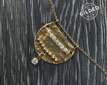 "Tuesday Necklace — flash czech glass, brass gold, CZ, rose quartz, wire wrapped 18"" dainty feminine nashville spring easter"