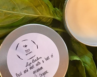 Lip Balm-Basil and Mint with a hint of geranium
