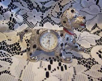 Elgin Dalmation Mini Clock with Original Metal Box