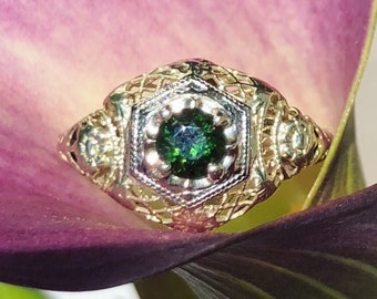 Antique Green Tourmaline Engagement Ring with Floral Filagree 14K