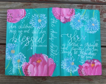 Custom hand painted Bible, one of a kind, you choose all of the details.