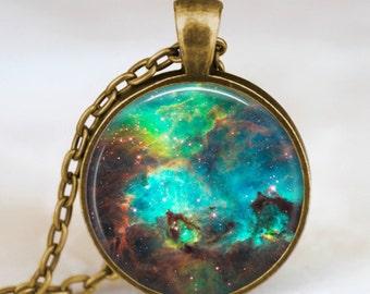 Nebula pendant  , Nebula necklace, Nebula jewelry, galaxy space necklace turquoise with gift bag