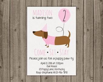 Girl Dachshund Birthday Invitation - Puppy Party Invite - Dog Birthday Invite - Come, Sit, Stay Invitation - 5x7 JPG DIGITAL FILE
