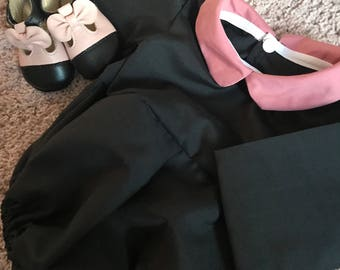 Coco romper -black and  dusky pink Peter Pan collar baby girl outfit / cotton onsie
