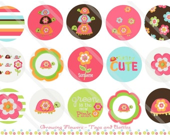 Growing Flowers Kid M2MG 1 Inch Circles Collage Sheet for Bottle Caps, Hair Bows, Scrapbooks, Crafts, Jewelry & More