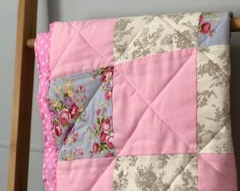 Handmade Pink floral Polka dot Baby Girl Pram Blanket Quilt / Floor Mat   Baby Shower Gift   74x 86cm