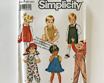 Simplicity 7047 Sewing Pattern Babies' Overalls in Two Lengths, Sundress, Jumper and Bubble Suit Sizes AB Newborn to 18 Months Pleated Front