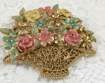 Vintage Goldtone Pastel Flower Basket Brooch