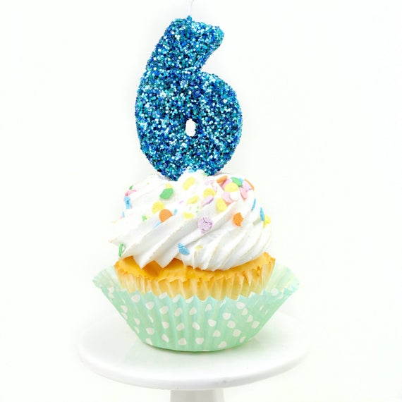 """3"""" Number 6 Candle, Giant 6 Candle, Large Blue Candle, Mermaid Birthday, Giant Glitter Candle, Boy Party Decor, Multi-Colored Glitter"""