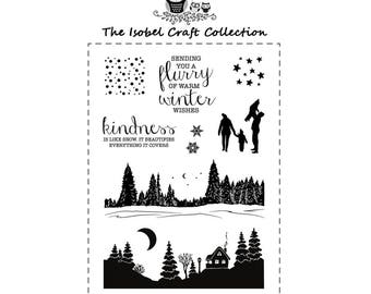 A6 set of photo-polymer clear stamps - WINTER LANDSCAPE SILHOUETTE