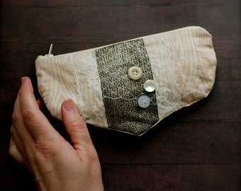 Faux Bois Bridal - one of a kind zip pouch - cotton lined zipper - ready to ship - sandy cream netting buttons -  Handmade in Kansas, USA