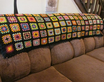 "vintage granny square afghan/blanket /throw,Roseanne show throw,sofa afghan,64"" long X 55"" wide,colorful crochet afghan,boho ,ship today,"