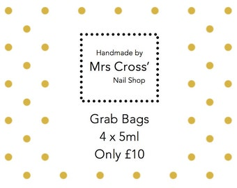 Grab Bag of 4 x 5ml nail polishes from Mrs Cross' Nail Shop - handmade in the UK