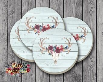 Burgundy & Navy Floral Deer Antlers - Sandstone Drink Coasters - Round Coaster Set - Bar Coasters - Set of 4 Coasters - Shabby Chic