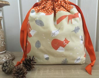 Knitting bags / knitting bag / crochet bag /   project bag - fox