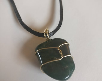 Wire-Wrapped Green Jasper Necklace