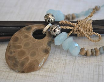 Petoskey Stone focal necklace set, aquamarine chips and nuggets, sterling silver, Michigan necklace, Up North necklace
