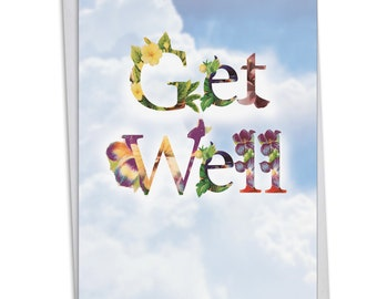 C2359CGWG Bunches of Well Wishes: Get Well Card Ft. Flower Filled Fonts That Relay Get Well Wishes Against a Sky Background, with Envelope.