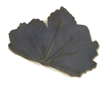 Hollyhock Leaf dish - pottery - blue midnight - ring dish - spoon rest - fall decor - jewel tone - red