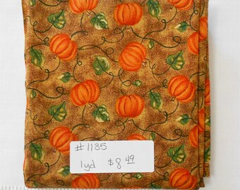 Fabric -1yd piece-Pumpkins/Vines/brown background/fall/autumn/orange/yellow/green(#1135) Windham Fabrics Harvest