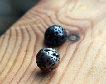 Silver Lava Stud Earrings-Meteorite Studs-Black-Lava-Stud-Earrings-Maker-Gal Barash