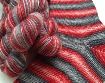 Hand dyed self striping merino sock yarn - Winter Fire