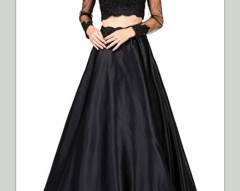 BEGONIA Graduation Prom Lace Satin Embroidered Rhinestones  2 Pcs Gown
