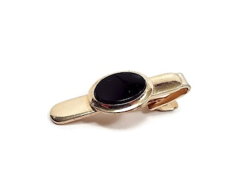 Vintage Tie Clip, Speidel Signed Made in USA, Black Tie Clip, Black and Gold Tone, Retro 1980s 80s, Gentleman Jewelry, Gift for Him