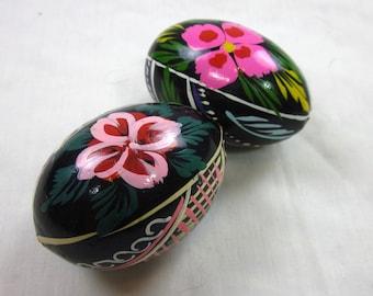 Vintage Easter Eggs, Ukranian Painted Wood