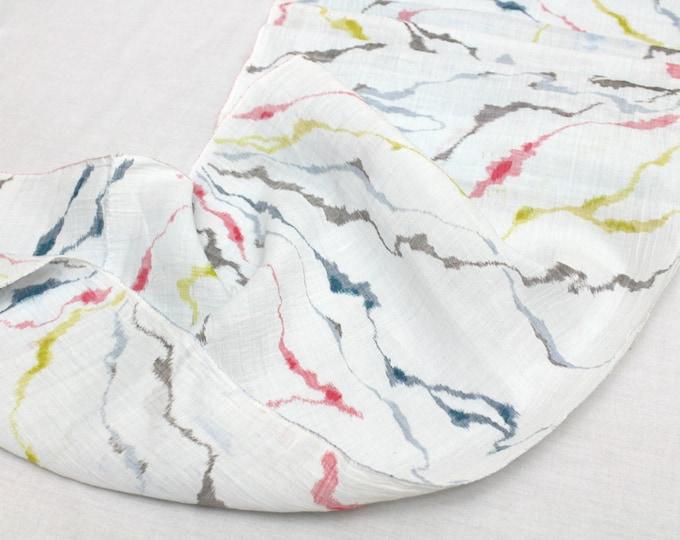 Artisan Japanese Hemp Linen. White Red Blue Yellow Multi Ikat. Vintage Fabric. (Ref: 1532B)