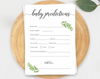 Baby Prediction Cards DIY Baby Shower Games Baby Prediction Game Gender Neutral Baby Shower Games Printable Watercolor Leave Baby Shower GL1