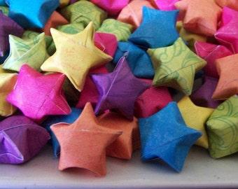 Rainbow Mix Wishing Stars Origami Hand Folded