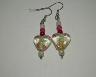 Glass Heart Earrings | Fashion Earrings | Heart Earrings | Glass Bead Earrings |  Simple Earrings | Pink Earrings | Dangle Earrings | Drop