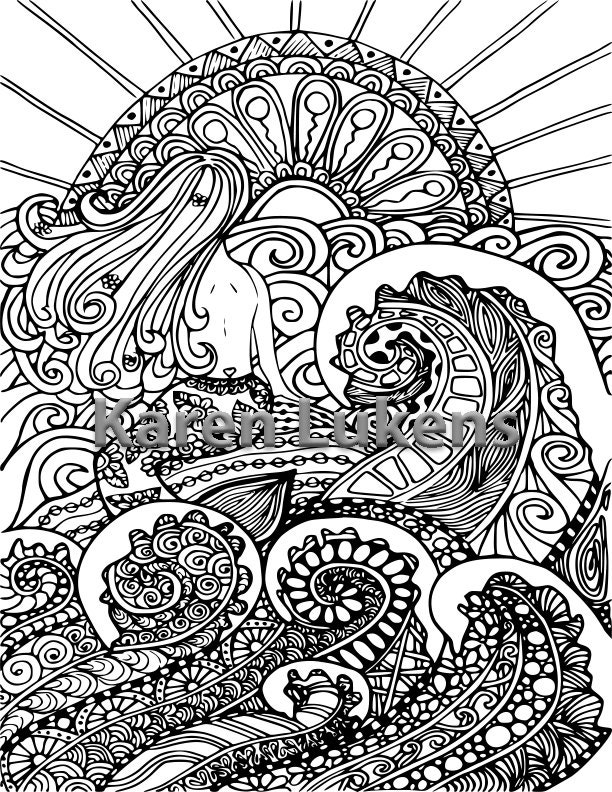 5 Pages,Mermaids, Orca\'s & Ocean Pack #1 , 5 Adult Coloring Book ...
